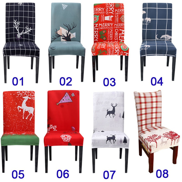 Wish | 2/4/5/6pcs Christmas Universal All-inclusive Chair Cover European and American Chair Covers Elastic Chair Cover