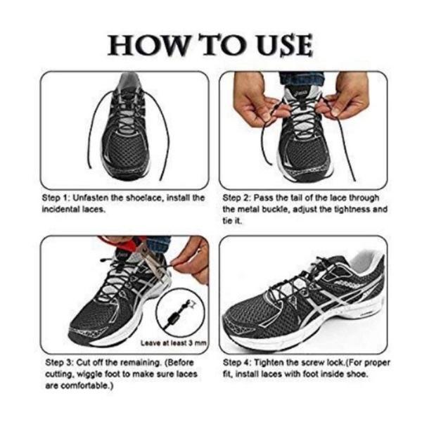 Elastic Silicone No Tie /'Lazy/' Shoe Laces Shoelaces Trainers Shoes Adult/&Kids
