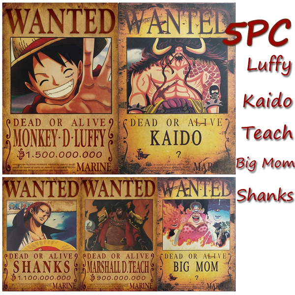 2019 New Anime Posters 5pcs One Piece Luffy Wanted Poster Luffy Kaido Big Mom Teach Shanks Paper Wall Decor 51 5x36cm