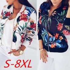 casual coat, Jacket, Plus Size, Floral print