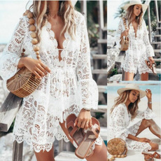 blouse, Deep V-Neck, Fashion, Lace