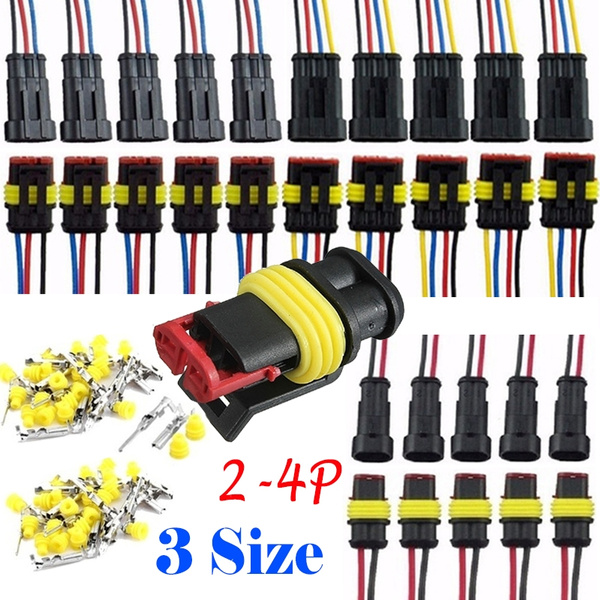 5 Sets 2 Pin Way Waterproof Sealed Electrical Wire Auto Connector Plug Car Kit