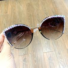 DIAMOND, Sunglasses, roundglasse, Women's Fashion