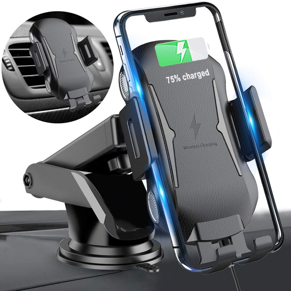 Fast Wireless Car Charger 10W Standard for Samsung Galaxy S9//S9+//S8//S8+//Note 8 and 7.5W for iPhone Xs Max//Xs//XR//X// 8//8 Plus 3 in 1 Auto Clamping Air Vent Phone Holder Black