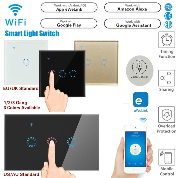 Smart Wifi Touch Light Switch App/Voice Control Wall Interruptor Work with  Alexa Google Home (1/2/3 Gang, EU/UK/US/AU Standard, APP eWeLink)
