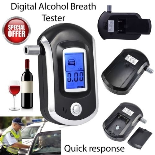 Alcohol Breath Tester Breathalyzer Digital LCD Analyser with 5 Mouthpiece AT6000
