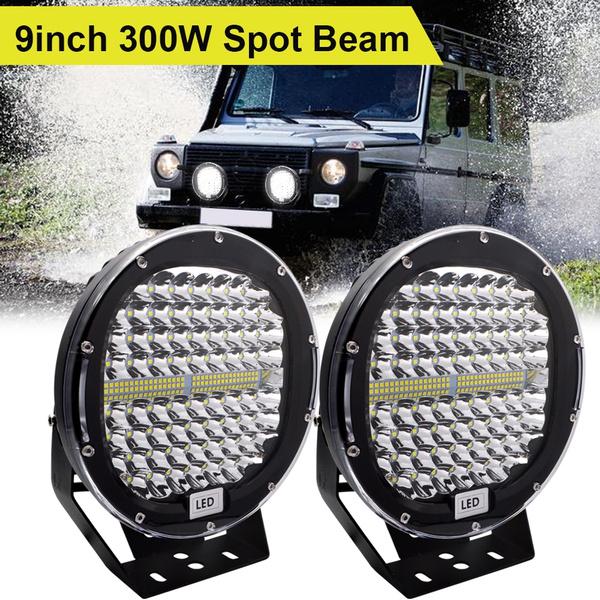 2pcs 300W Round LED Work Light Spot Driving Lamp Headlight offroad SUV ATV Truck