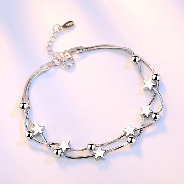 925 Sterling Silver Star And Bead Charms Barcelet Jewelry For Women Wedding Charm Chains Bangle Wild Bracelet