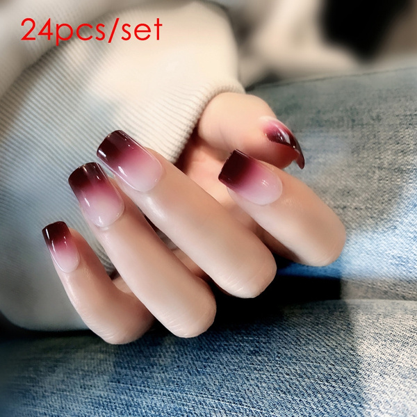 24pcs Red Wine Gradient Color Long False Nails Fashion Fake Nails For Ladies With Glue