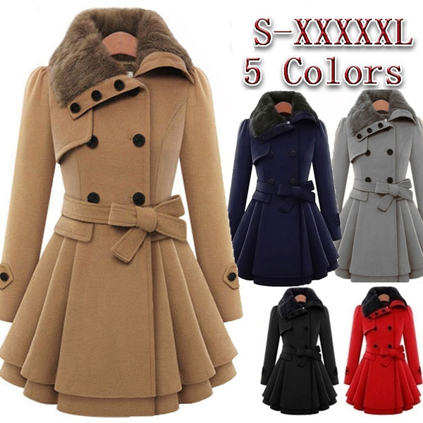 Womens New Style Vintage Woolen Coat Slim Trench Coats Lady Fur Collar Peacoat Winter Woolen Coat Jackets Outwear Plus Size 5 Xl by Wish
