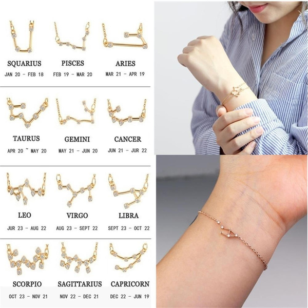 Crystal Zodiac Pendant Guardian Star Wristbands Constellation Anklets