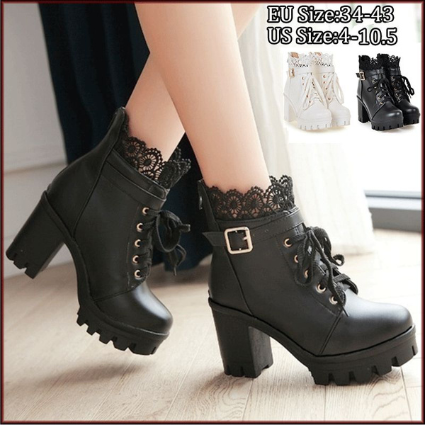 d99ae222c1c Autumn and Winter New Fashion Women's Thick High Heel Ankle Boots Ladies  Leather Lace Up Martin Boots Sweet Lace Student Shoes Bottes Botines Plus  ...