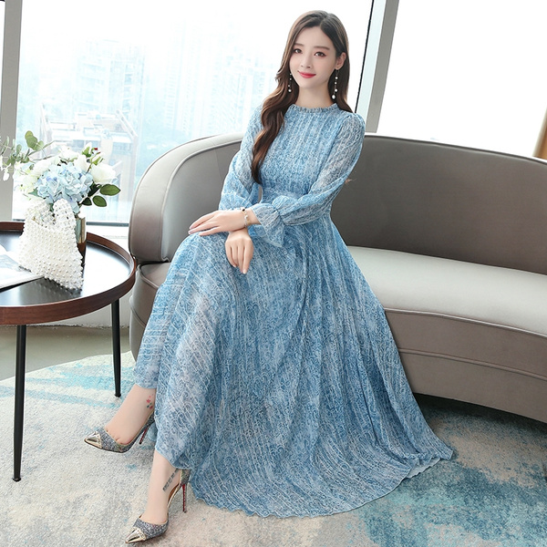 730# 2019 Autumn New Plus Size Women Fashion Elegant Long Sleeve Stand  Collar Chiffon Printed Maxi Dress Vintage Dress Vestidos