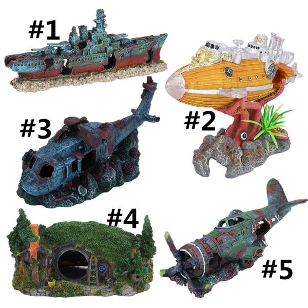 Aquarium Pirate Ship Decorations Fish Tank Ornaments Resin