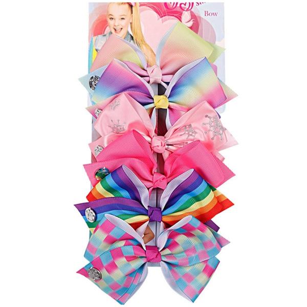 NEW 6 Pcs//Set Rainbow Printed Knot Ribbon Bow Hair Chip For Kids Girls Hair bow