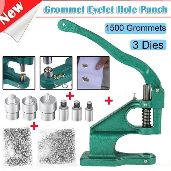 1pc Hand Press Grommet Eyelet Machine With 3 Dies & 1500pcs Grommets  6/10/12mm