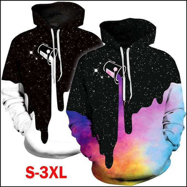 Milk Space Galaxy Hooded Hoodies Couple Pocket Pullovers Plus Size