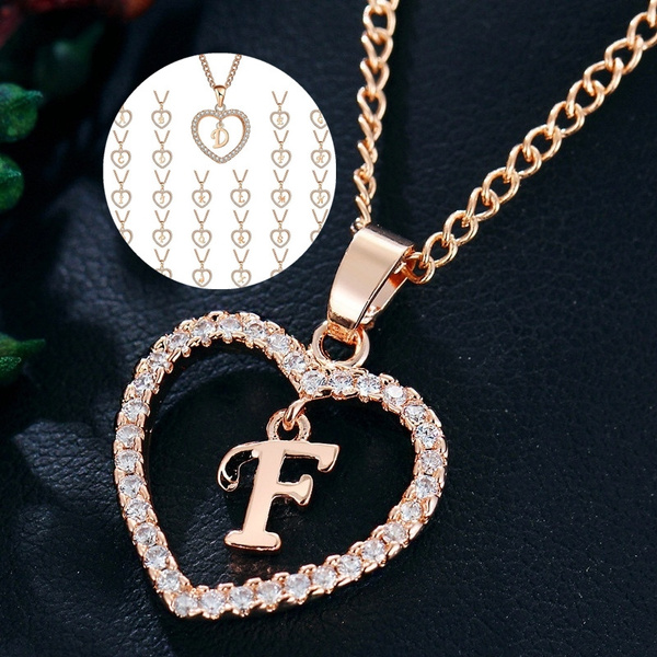 New Fashion Romantic Love Pendant Necklace For Girls Women Diamond Inspirational Initial Letter Necklace Alphabet Rose Gold Chain Trendy Charms Femme Choker Send A Female Gift Wish