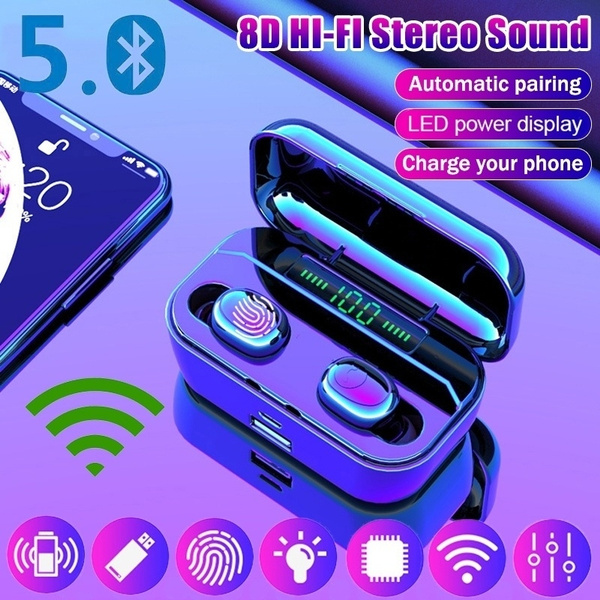 Bluetooth5 0 8d Hifi 2019 Latest New Led Power Display Tws Bluetooth Earphones Cvc8 0 Noise Cancelling Wireless Bluetooth Headphones Sport Waterproof Bluetooth Headset Touch Control Mini Earbuds With 3500mah Chaging Case Wish