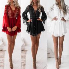 Mini, ruffle, Lace, Sleeve