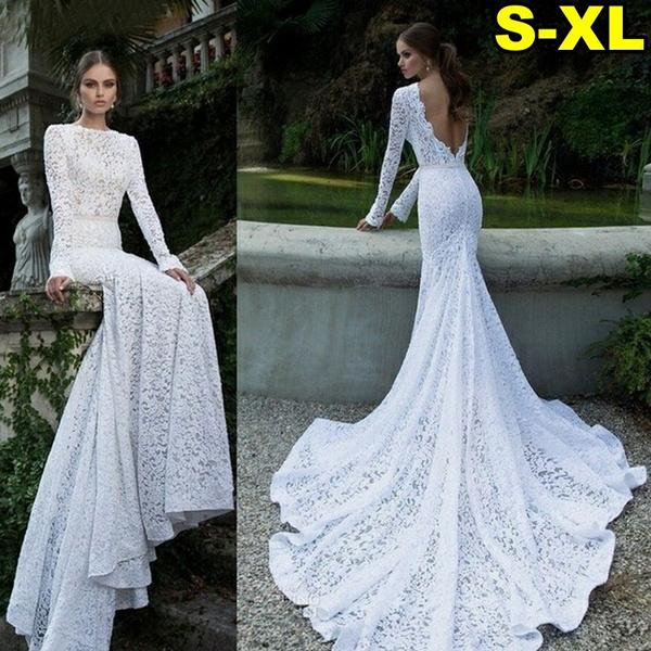Womens 2019 New Summer Elegant White Lace Wedding Dress Sexy Dress Fashion Party Long Dress