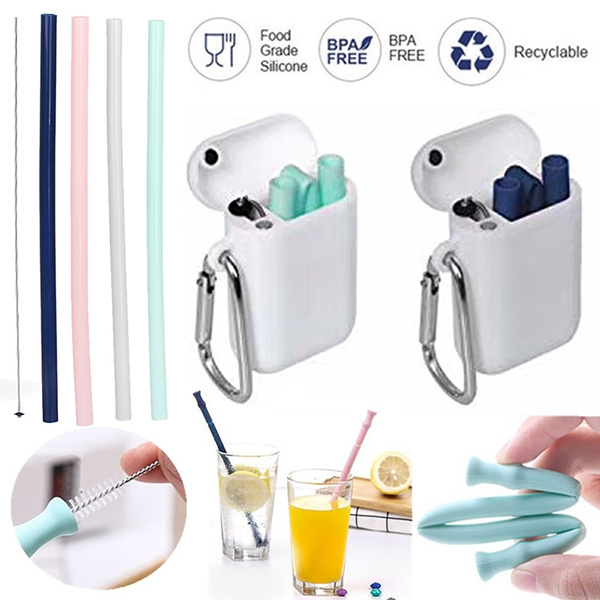 Collapsible Reusable Silicone Drinking Straws, Eco Friendly for Safely  Drinking Hot & Cold Drinks