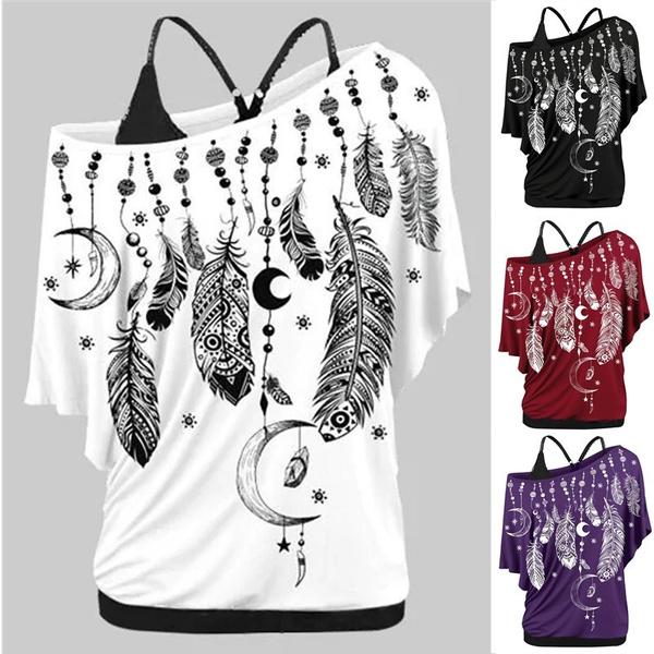 blouse, Summer, Plus Size, featherprint
