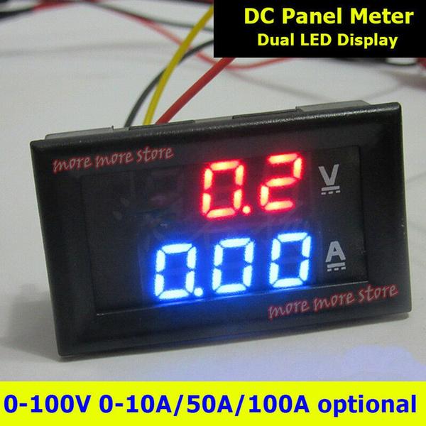 DC 100V 50A Digital LED Display Voltmeter Ammeter Amp Dual Voltage Meter Gauge