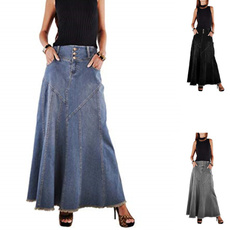denim dress, Fashion, Ladies Fashion, flared