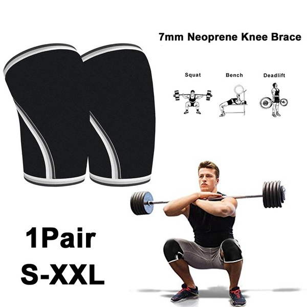 1pair Weight Lifting Knee Brace Support Compression Knee Pads 7mm Neoprene Knee Sleeve Fitness Kneepad For Men Women S Xxl Wish