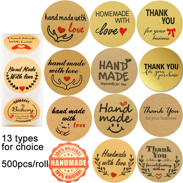 500pcs Stickers Thank You Black Font Handmade Adhesive Labels For Christmas Gift