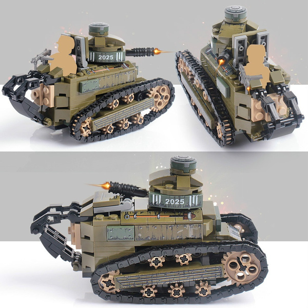 368PCS WW2 Military Renault FT17 Tank Building Blocks Army Soldier