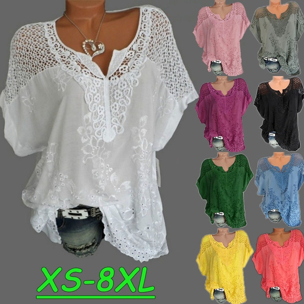Summer, Plus Size, Lace, Women Blouse