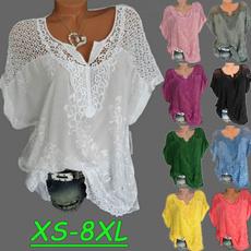 Summer, Plus Size, Lace, Women Blouse