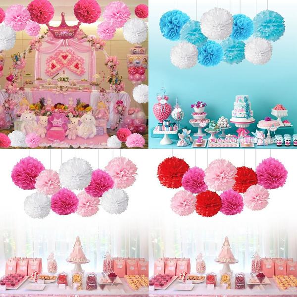 9pcs Set Tissue Paper Pom Poms Flower Ball Wedding Birthday Party Supplies Hanging Decoration Room Decor