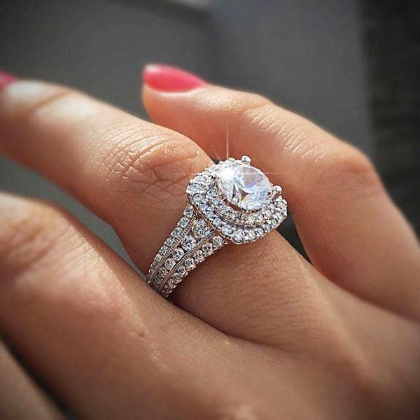 Sterling, DIAMOND, haloring, gold