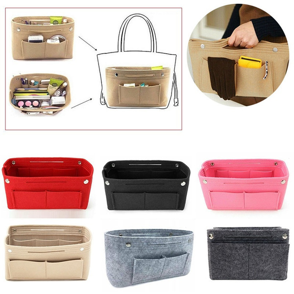 Women Handbag Organizer Bag Purse Insert Bag Felt Multi Pocket Tote Useful Bag