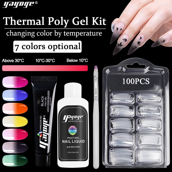 Yayoge Thermal Poly Extension Nail Gel Kit Temperature Color Changing Builder Soak Off Uv Gel by Wish
