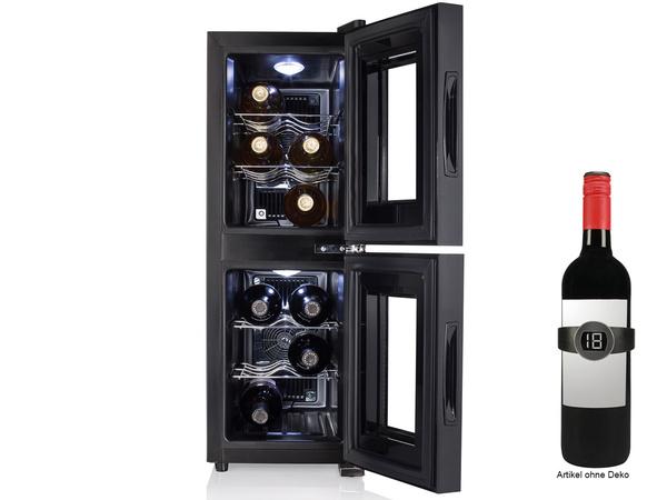Weinkühlschrank schmal 2 Zonen 12 Flaschen Weinklimaschrank Weintemperierschrank