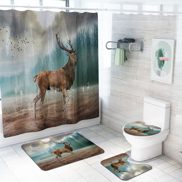 Deer Bathroom Rug Shower Curtain