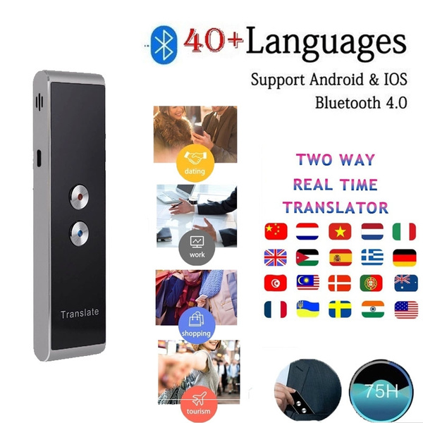 Mini Portable Smart Instant Voice Translator 40 Languages Interactive  Bluetooth 4 0 2-Way IOS Android Accurate Translator