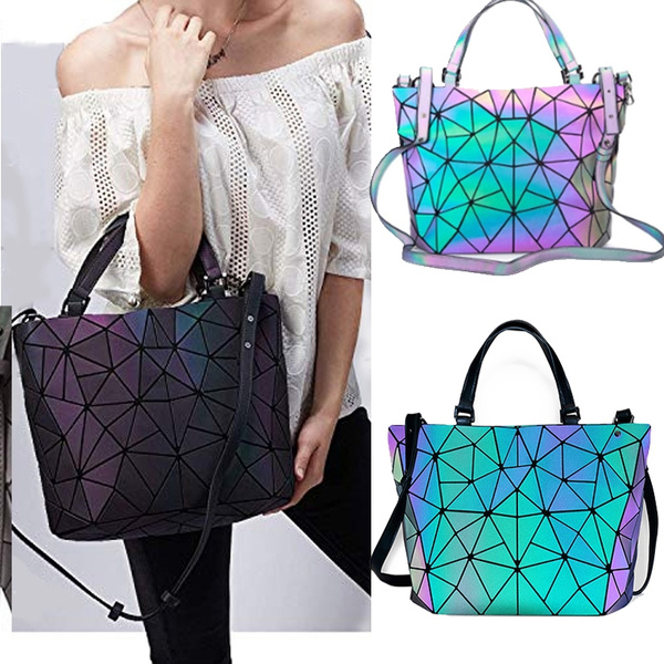 15aaa2873db3 Luminous Bag Women Geometry Diamond Tote Quilted Shoulder Bags Laser Plain  Folding Handbags Luminous Party Bags