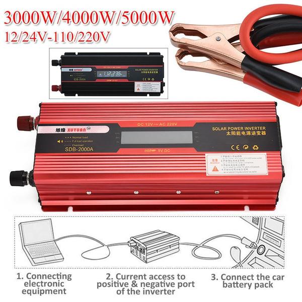 3000W Car Solar Power Inverter DC 12//24V To AC 110//220V USB Sine Wave Converter