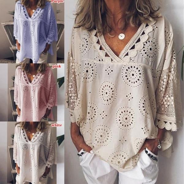 Deep V-Neck, Tees & T-Shirts, Lace, Casual T-Shirt