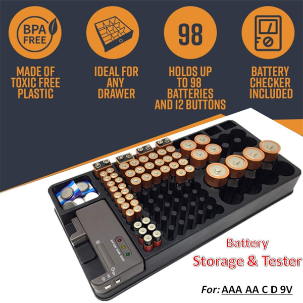 Battery Storage Organizer Holder Battery Checker Box Battery Caddy Rack  Case Holders With Tester For AAA AA C D 9V (Without Battery)