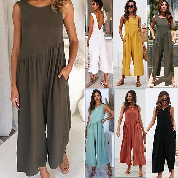 Summer, Women Rompers, women long pants, pants