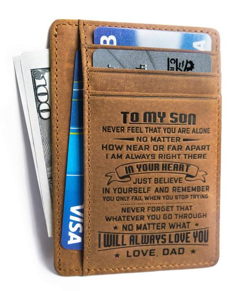 Minimalist Card Holder Wallet Purse Son Daughter from Mom Dad Xmas Gift RFID