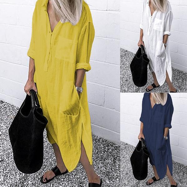 womencottondres, springdres, plaincolordres, Sleeve