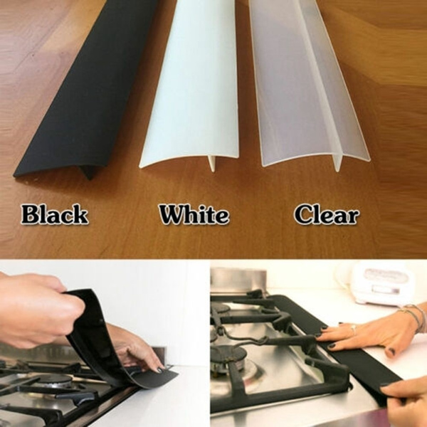 Flexible Stove Counter Gap Cover Silicone Rubber Kitchen Oil-gas Slit  Filler Heat Resistant Mat Oil Dust Water Seal