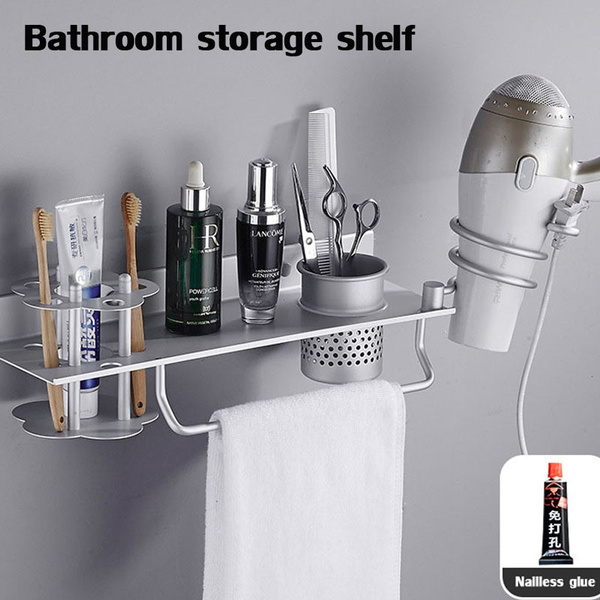 punch-free-wall-hanging-space-aluminium-hair-dryer-rack-bathroom-storage-rack-with-cup-towel-rack by wish